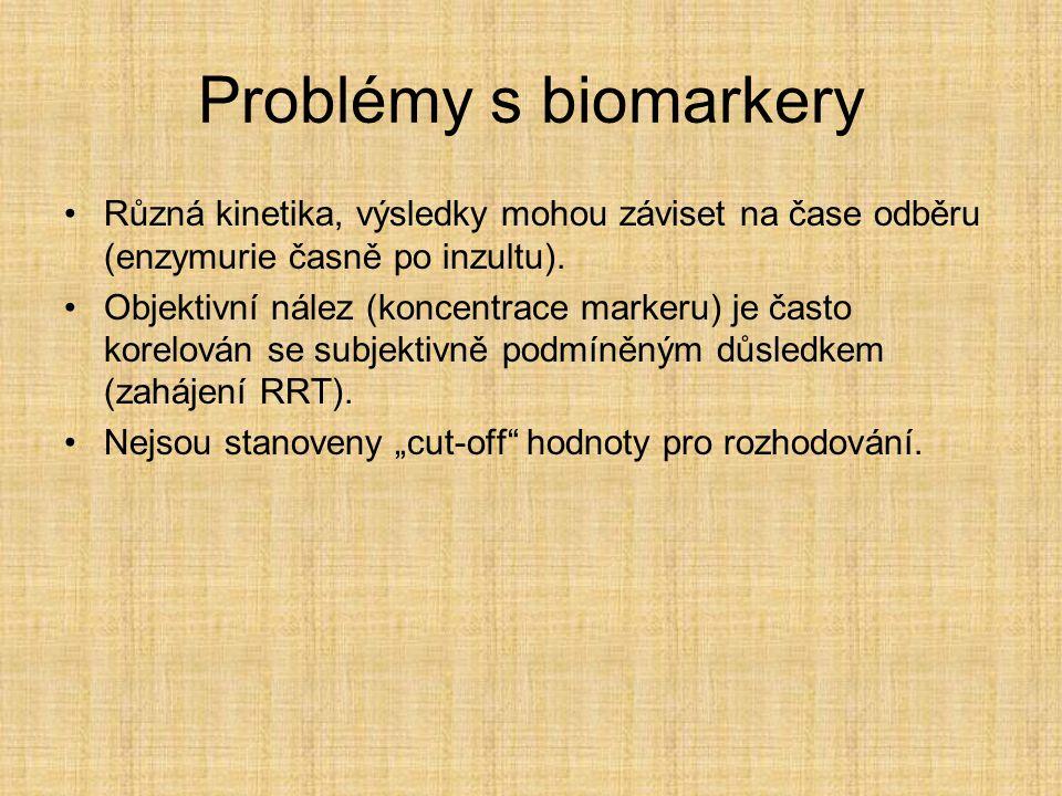Problémy s biomarkery Různá kinetika, výsledky mohou záviset na čase odběru (enzymurie časně po inzultu). Objektivní nález (koncentrace markeru) je ča