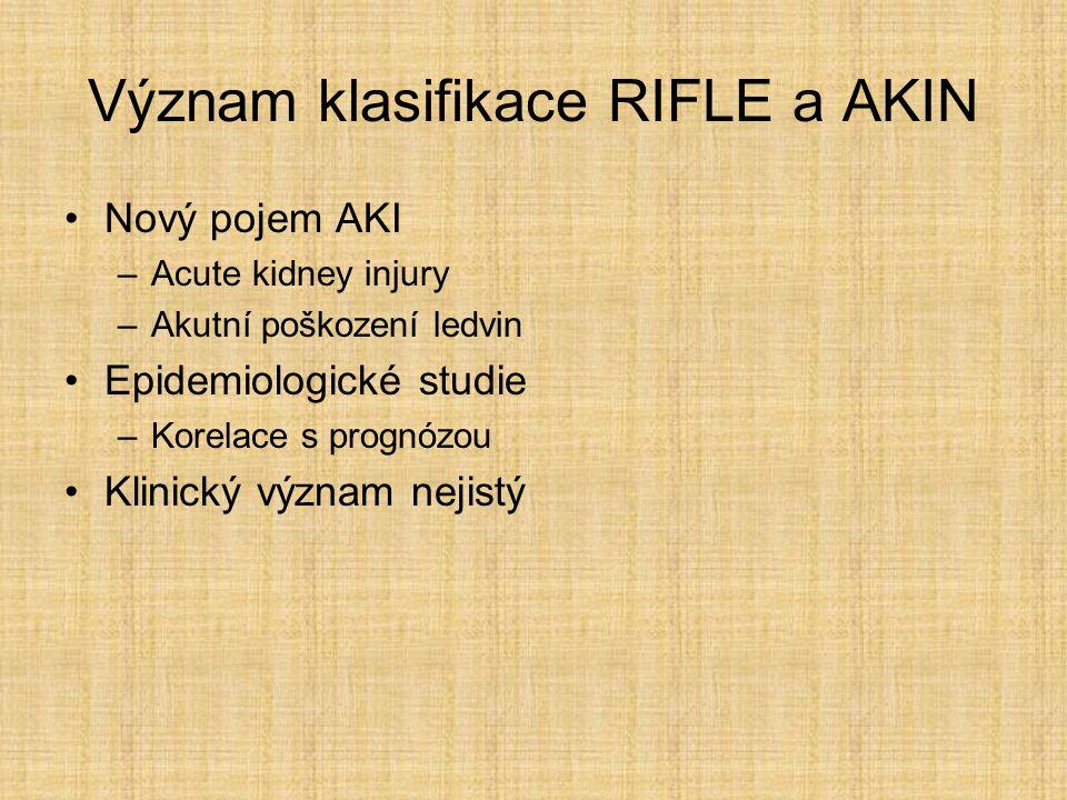 Význam klasifikace RIFLE a AKIN Nový pojem AKI –Acute kidney injury –Akutní poškození ledvin Epidemiologické studie –Korelace s prognózou Klinický výz