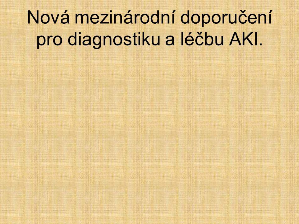 Nová mezinárodní doporučení pro diagnostiku a léčbu AKI.