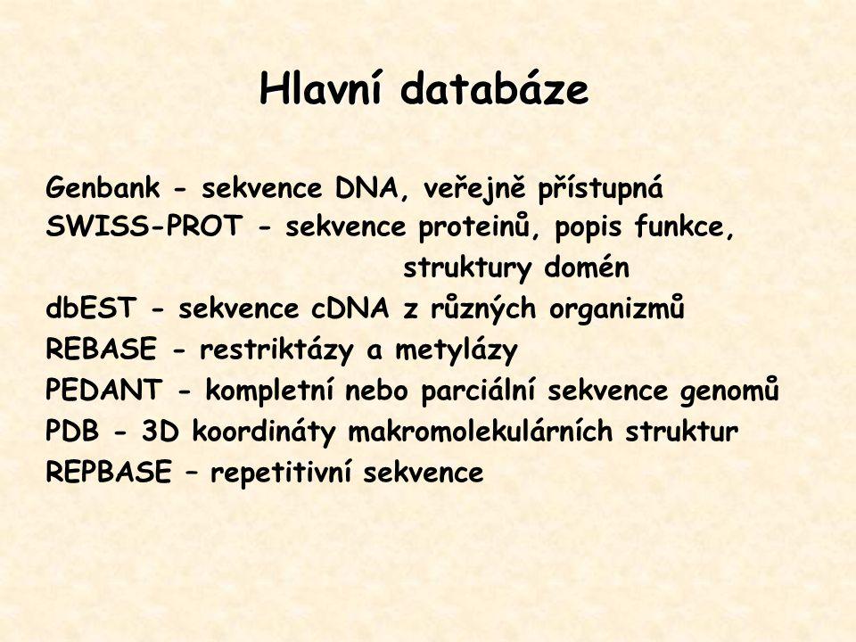 Genbank - sekvence DNA, veřejně přístupná SWISS-PROT - sekvence proteinů, popis funkce, struktury domén dbEST - sekvence cDNA z různých organizmů REBA