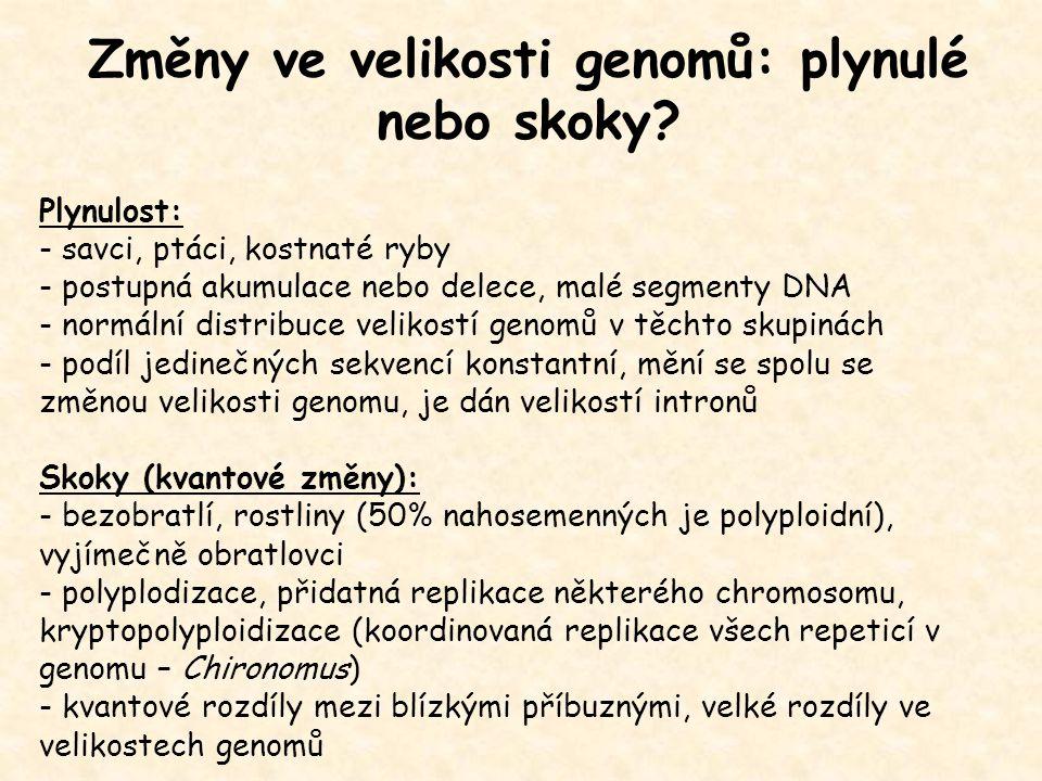 Genomové sekvenační projekty duben 2008 762 ukončených projektů: 53archea 626 bakterie 83 eukaryota Ukončené eukaryotické genomy: protozoa: Plasmodium falciparum (23 Mb) fungi: Saccharomyces cerevisiae (12 Mb) Neurospora crassa (43 Mb) nematodes: Caenorhabditis elegans (97 Mb) insects: Drosophila melanogaster (137 Mb) Anopheles gambiae ( 278 Mb) fish: Ciona intestinalis (117 Mb) mammals: Homo sapiens (2900 Mb) Mus musculus (3300 Mb) Rattus norvegicus (2750 Mb) plants: Arabidopsis thaliana (115 Mb) Oryza sativa (420 Mb) 975 probíhajících projektů: 1749 prokaryota 935 eukaryota 89 archea