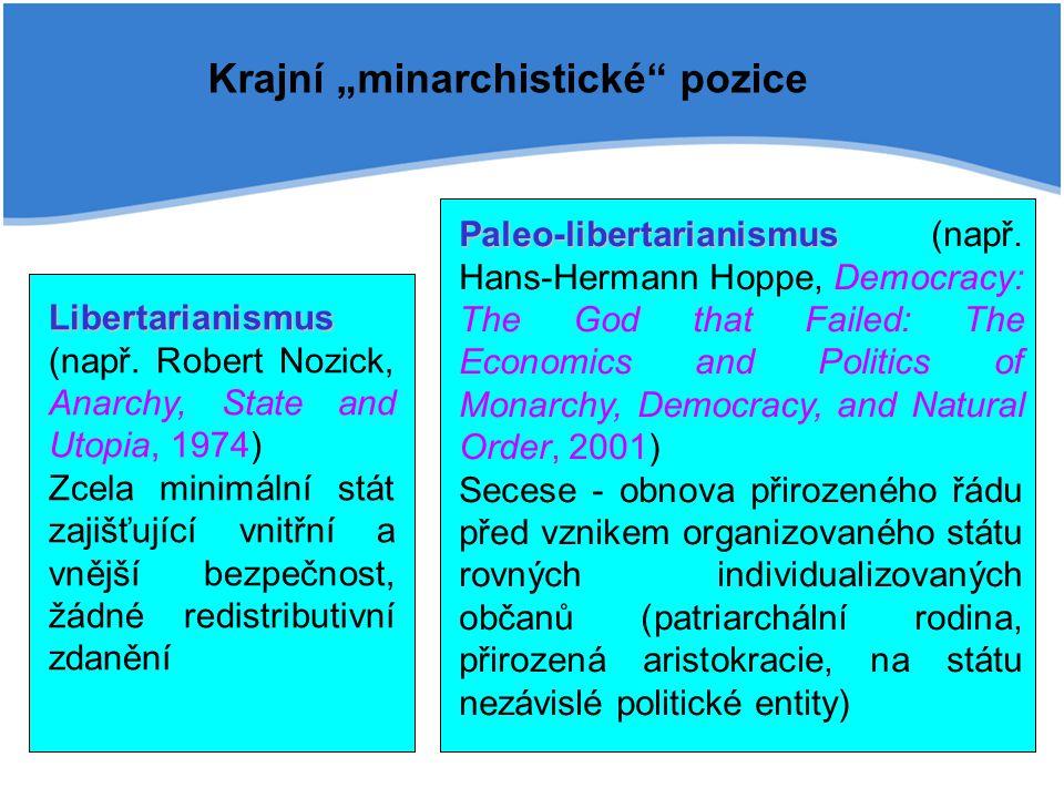 Libertarianismus Libertarianismus (např. Robert Nozick, Anarchy, State and Utopia, 1974) Zcela minimální stát zajišťující vnitřní a vnější bezpečnost,