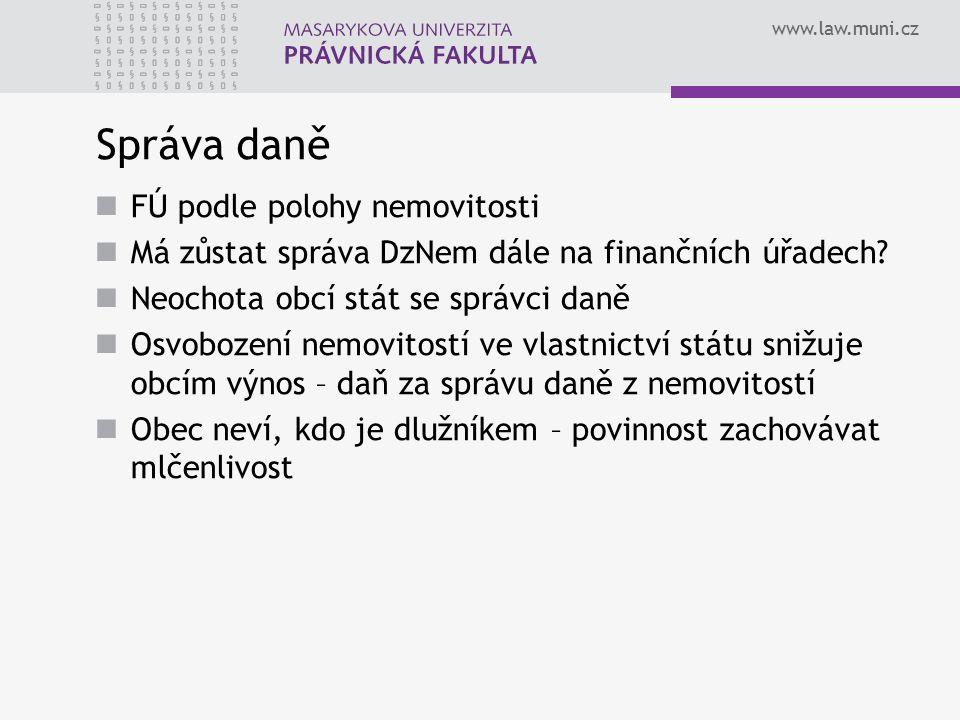 www.law.muni.cz Správa daně FÚ podle polohy nemovitosti Má zůstat správa DzNem dále na finančních úřadech? Neochota obcí stát se správci daně Osvoboze