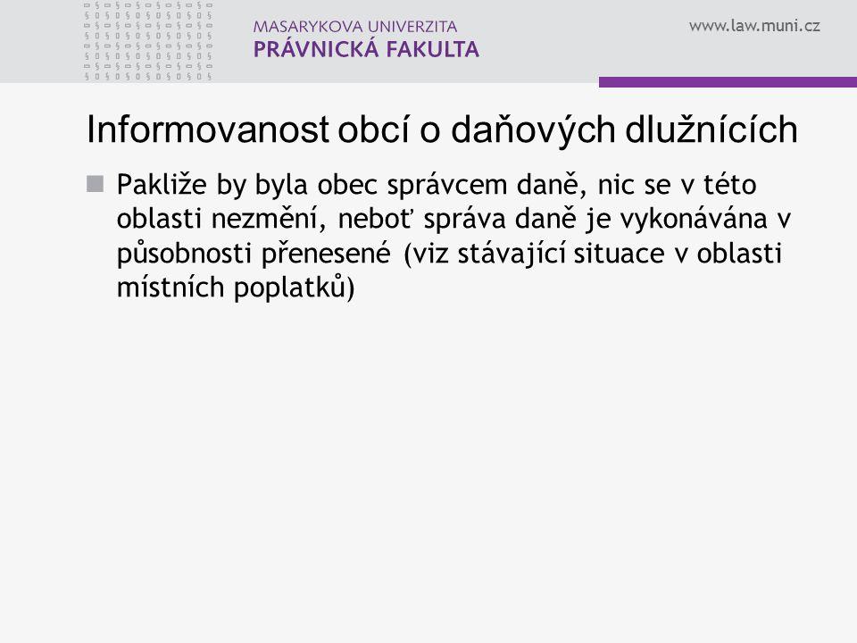 www.law.muni.cz Informovanost obcí o daňových dlužnících Pakliže by byla obec správcem daně, nic se v této oblasti nezmění, neboť správa daně je vykon