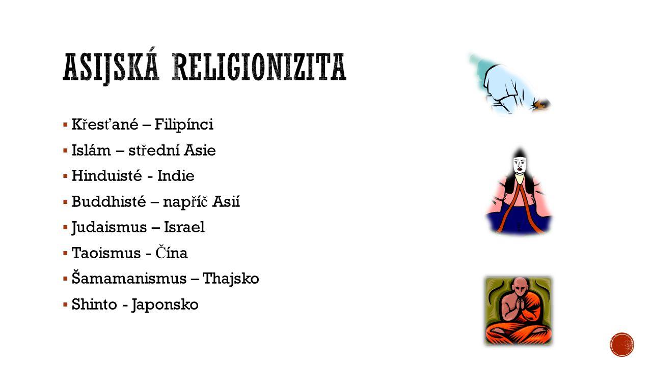  K ř es ť ané – Filipínci  Islám – st ř ední Asie  Hinduisté - Indie  Buddhisté – nap ř í č Asií  Judaismus – Israel  Taoismus - Č ína  Šamaman