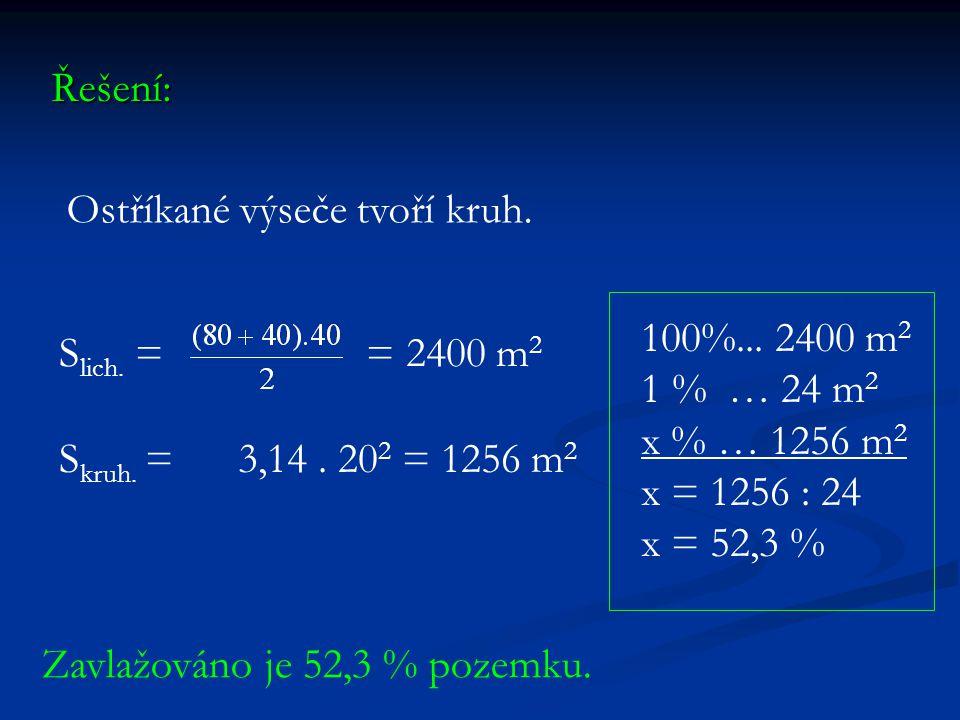 Řešení: Ostříkané výseče tvoří kruh. S lich. = = 2400 m 2 S kruh. = 3,14. 20 2 = 1256 m 2 100%... 2400 m 2 1 % … 24 m 2 x % … 1256 m 2 x = 1256 : 24 x