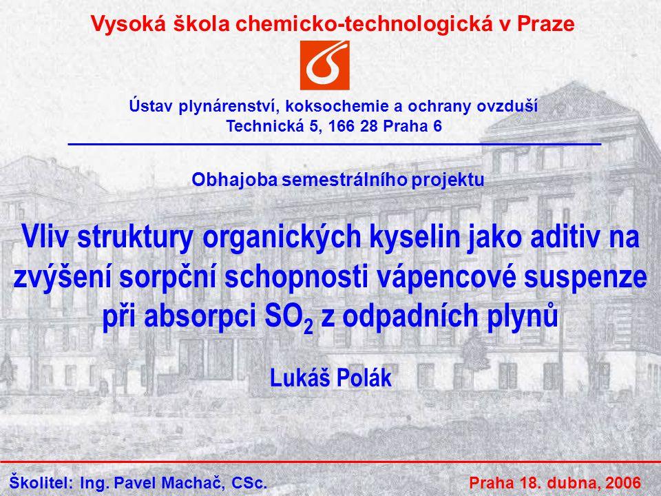 18.4.2006Lukáš Polák2 Obsah SO 2 jako znečišťující látka Mokrá vápencová metoda Organická aditiva Výsledky měření Závěr