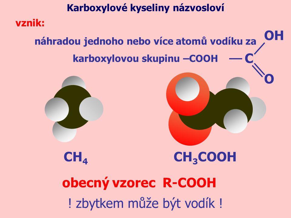 CH 4 náhradou jednoho nebo více atomů vodíku za karboxylovou skupinu –COOH Karboxylové kyseliny názvosloví vznik: CH 3 COOH obecný vzorec R-COOH ! zby