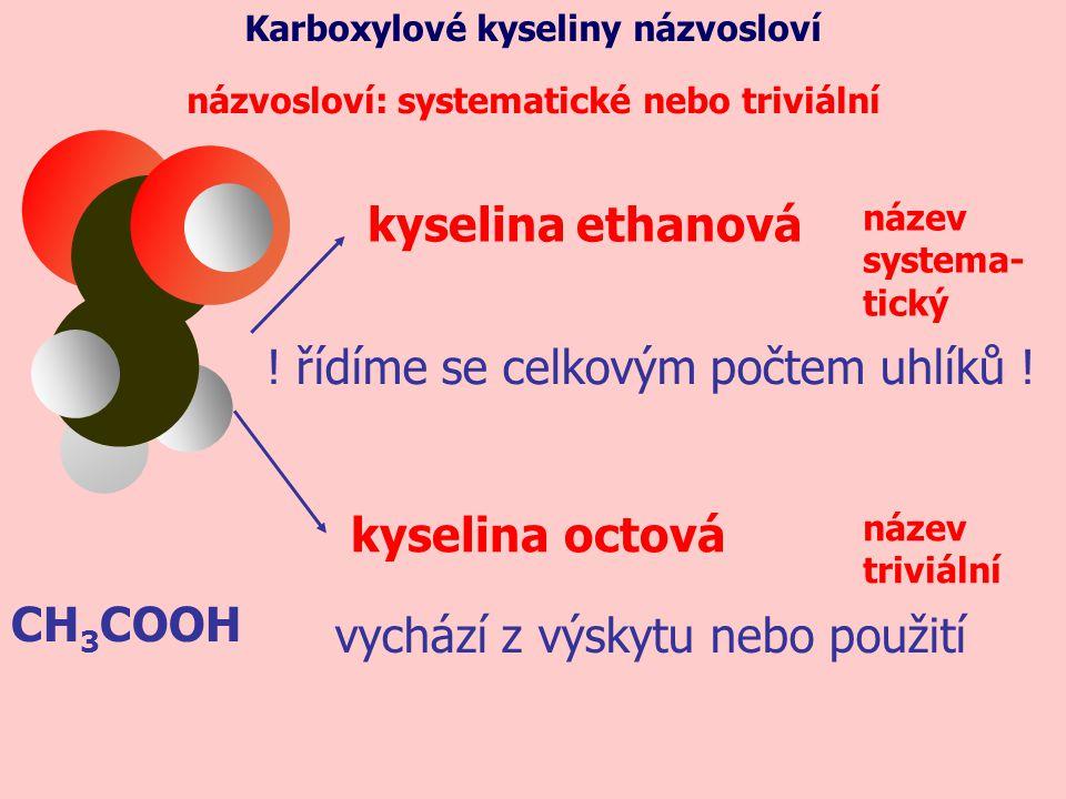 CH 3 COOH názvosloví: systematické nebo triviální název systema- tický ! řídíme se celkovým počtem uhlíků ! kyselina ethanová kyselinaoctová název tri