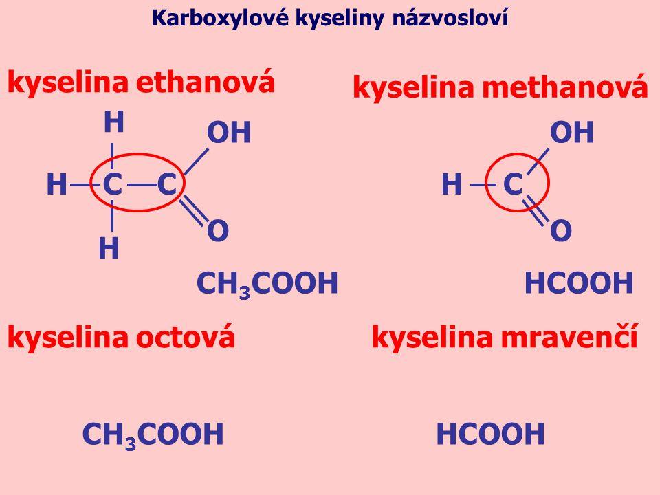 CH 3 COOH kyselina ethanová H C C H H OH O H O C kyselina methanová HCOOH kyselina octová kyselina mravenčí CH 3 COOHHCOOH Karboxylové kyseliny názvos