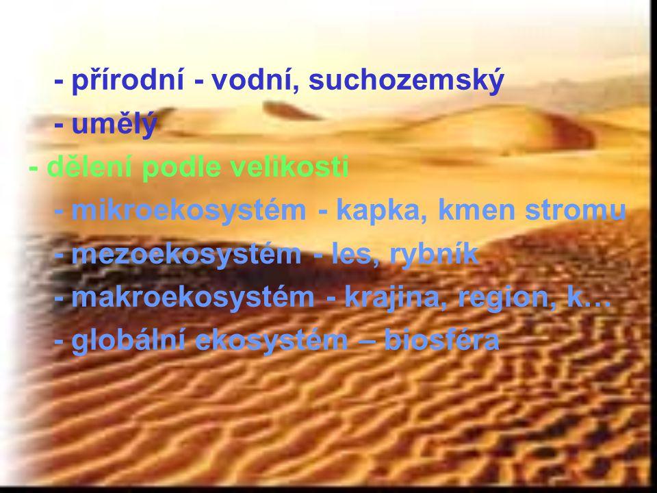 - přírodní - vodní, suchozemský - umělý - dělení podle velikosti - mikroekosystém - kapka, kmen stromu - mezoekosystém - les, rybník - makroekosystém