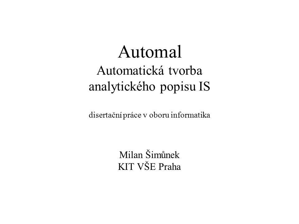 Automal Automatická tvorba analytického popisu IS disertační práce v oboru informatika Milan Šimůnek KIT VŠE Praha