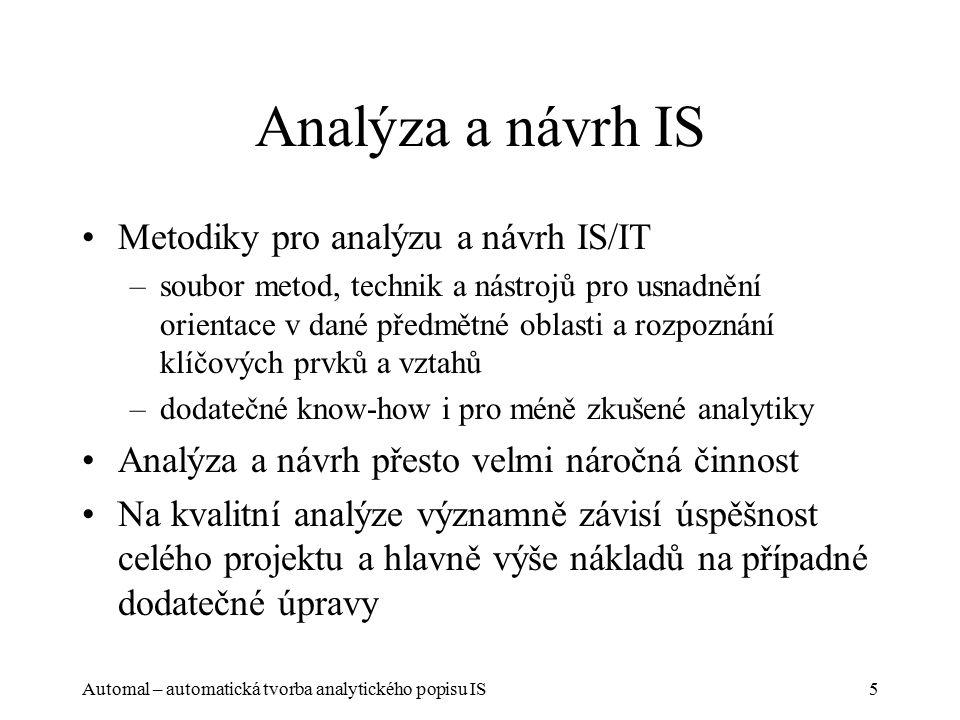 Automal – automatická tvorba analytického popisu IS5 Analýza a návrh IS Metodiky pro analýzu a návrh IS/IT –soubor metod, technik a nástrojů pro usnadnění orientace v dané předmětné oblasti a rozpoznání klíčových prvků a vztahů –dodatečné know-how i pro méně zkušené analytiky Analýza a návrh přesto velmi náročná činnost Na kvalitní analýze významně závisí úspěšnost celého projektu a hlavně výše nákladů na případné dodatečné úpravy