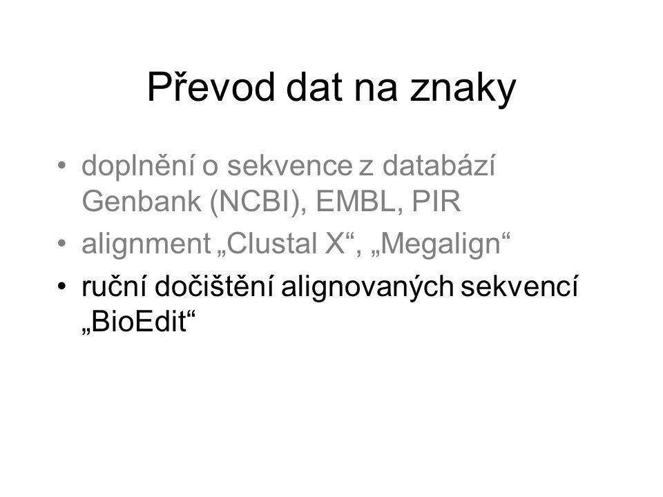"""Převod dat na znaky doplnění o sekvence z databází Genbank (NCBI), EMBL, PIR alignment """"Clustal X , """"Megalign ruční dočištění alignovaných sekvencí """"BioEdit"""