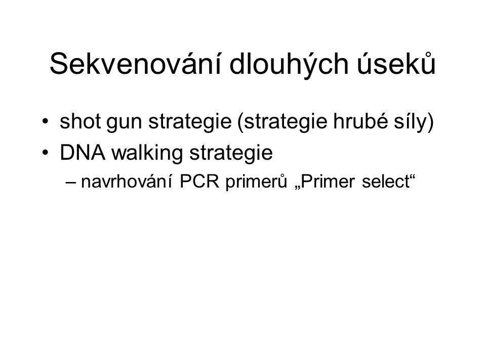"""Sekvenování dlouhých úseků shot gun strategie (strategie hrubé síly) DNA walking strategie –navrhování PCR primerů """"Primer select"""