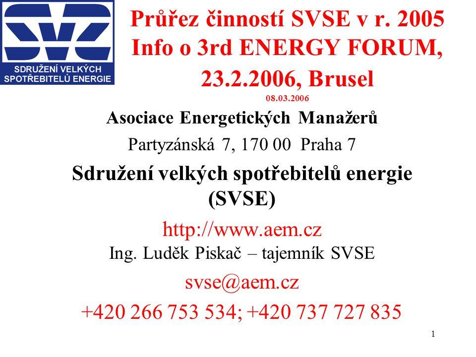 1 Průřez činností SVSE v r. 2005 Info o 3rd ENERGY FORUM, 23.2.2006, Brusel 08.03.2006 Asociace Energetických Manažerů Partyzánská 7, 170 00 Praha 7 S