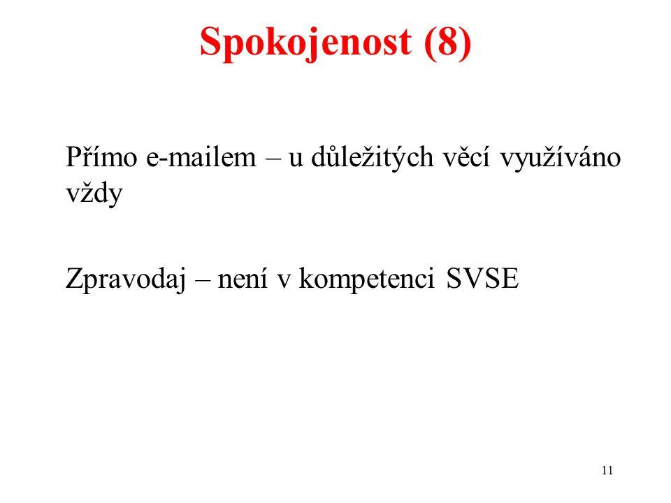 11 Spokojenost (8) Přímo e-mailem – u důležitých věcí využíváno vždy Zpravodaj – není v kompetenci SVSE