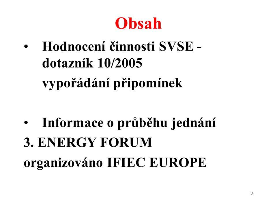 2 Hodnocení činnosti SVSE - dotazník 10/2005 vypořádání připomínek Informace o průběhu jednání 3. ENERGY FORUM organizováno IFIEC EUROPE Obsah