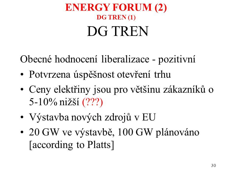30 DG TREN Obecné hodnocení liberalizace - pozitivní Potvrzena úspěšnost otevření trhu Ceny elektřiny jsou pro většinu zákazníků o 5-10% nižší (???) V
