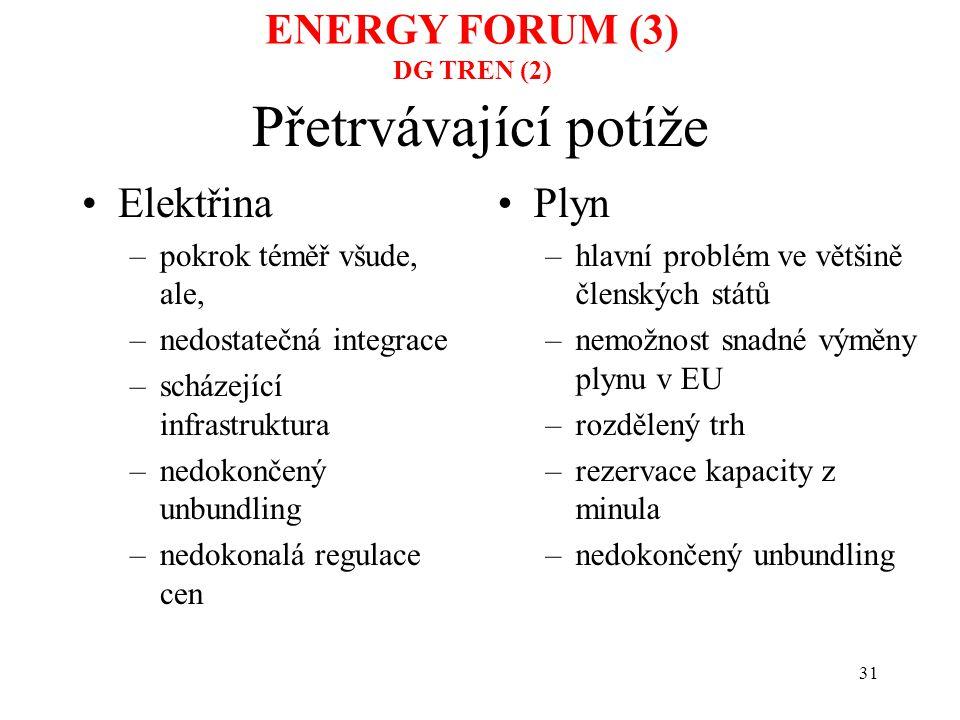 31 Přetrvávající potíže Elektřina –pokrok téměř všude, ale, –nedostatečná integrace –scházející infrastruktura –nedokončený unbundling –nedokonalá reg