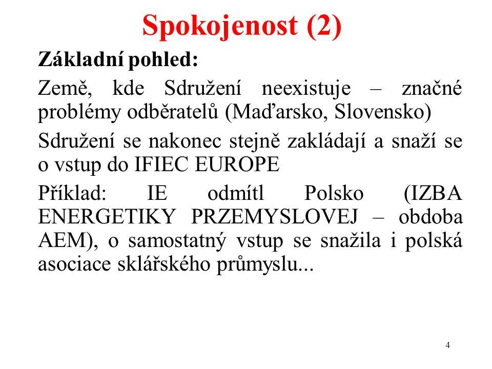 4 Spokojenost (2) Základní pohled: Země, kde Sdružení neexistuje – značné problémy odběratelů (Maďarsko, Slovensko) Sdružení se nakonec stejně zakláda