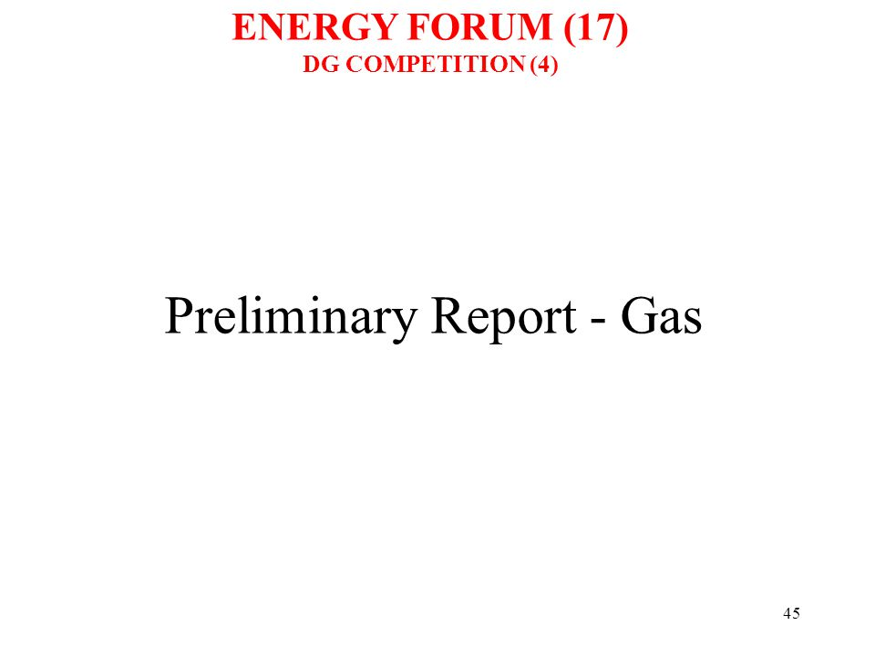 45 Preliminary Report - Gas ENERGY FORUM (17) DG COMPETITION (4)