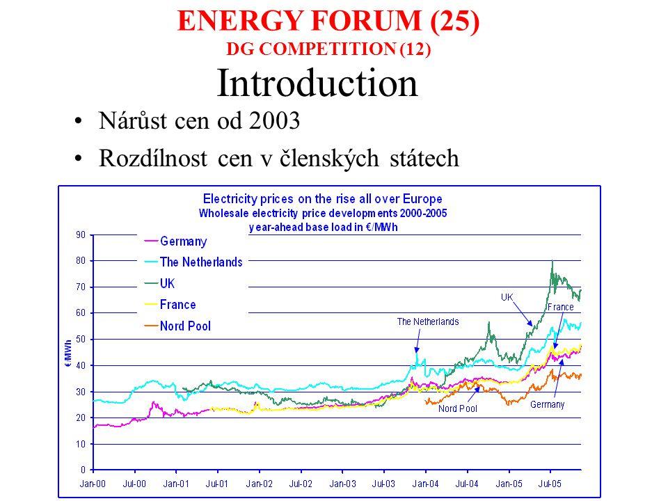 Introduction Nárůst cen od 2003 Rozdílnost cen v členských státech ENERGY FORUM (25) DG COMPETITION (12)