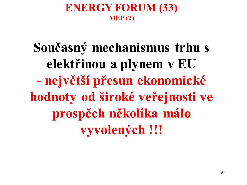 61 Současný mechanismus trhu s elektřinou a plynem v EU - největší přesun ekonomické hodnoty od široké veřejnosti ve prospěch několika málo vyvolených
