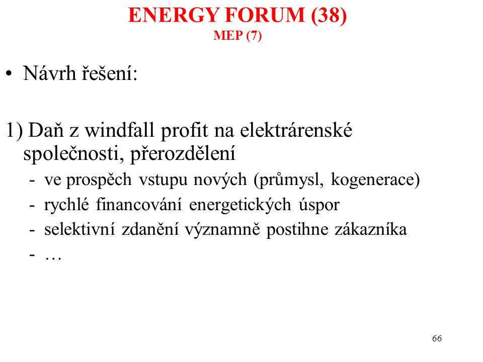 66 Návrh řešení: 1) Daň z windfall profit na elektrárenské společnosti, přerozdělení -ve prospěch vstupu nových (průmysl, kogenerace) -rychlé financov