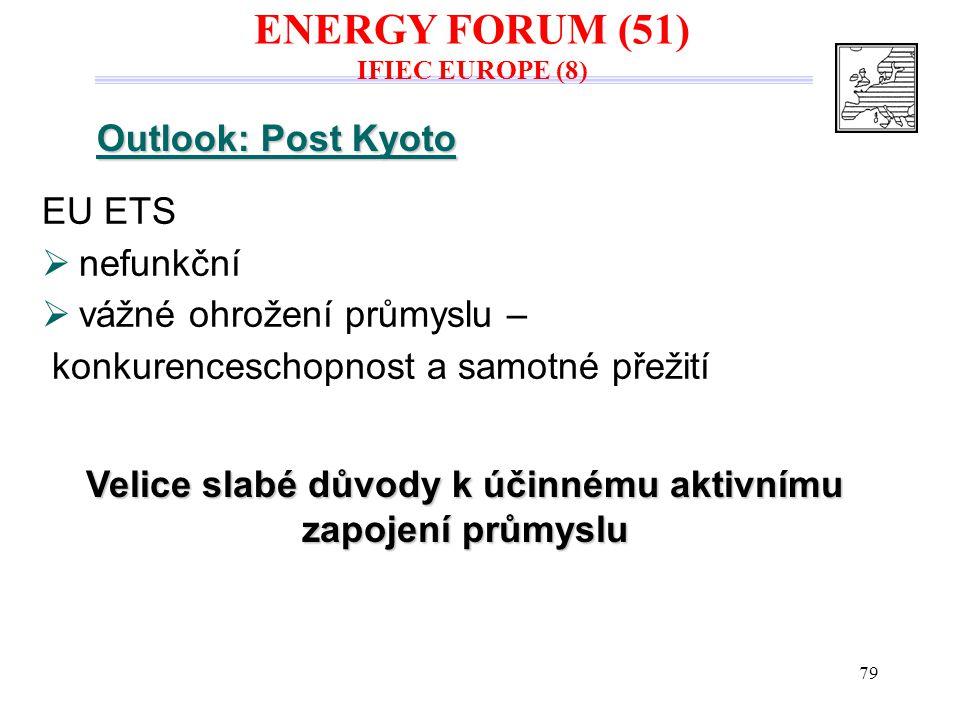 79 Outlook: Post Kyoto EU ETS  nefunkční  vážné ohrožení průmyslu – konkurenceschopnost a samotné přežití Velice slabé důvody k účinnému aktivnímu z