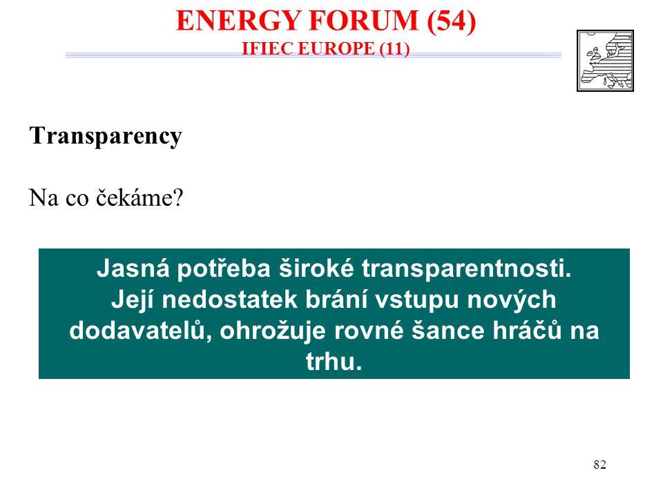 82 Transparency Na co čekáme? Jasná potřeba široké transparentnosti. Její nedostatek brání vstupu nových dodavatelů, ohrožuje rovné šance hráčů na trh