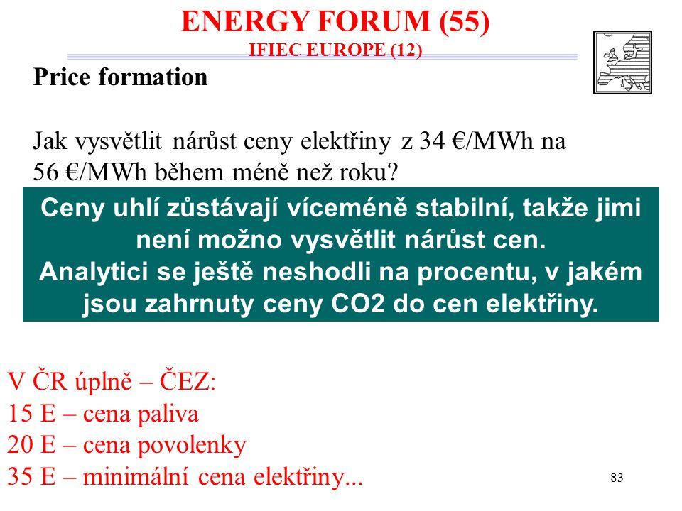 83 Price formation Jak vysvětlit nárůst ceny elektřiny z 34 €/MWh na 56 €/MWh během méně než roku? V ČR úplně – ČEZ: 15 E – cena paliva 20 E – cena po
