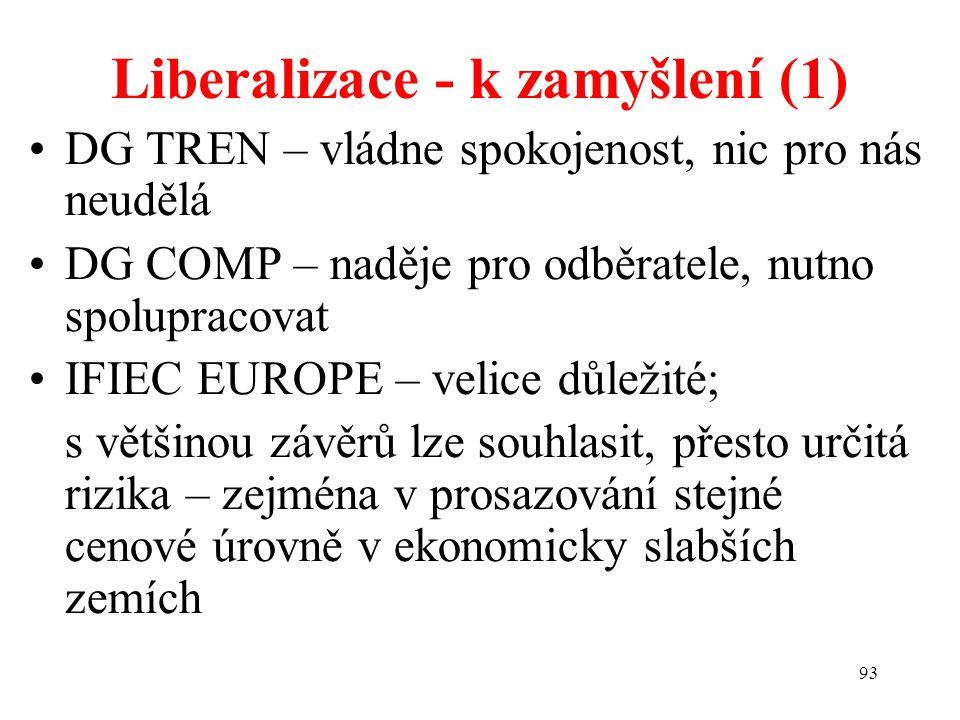 93 Liberalizace - k zamyšlení (1) DG TREN – vládne spokojenost, nic pro nás neudělá DG COMP – naděje pro odběratele, nutno spolupracovat IFIEC EUROPE