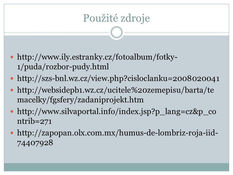 Použité zdroje http://www.ily.estranky.cz/fotoalbum/fotky- 1/puda/rozbor-pudy.html http://szs-bnl.wz.cz/view.php?cisloclanku=2008020041 http://webside