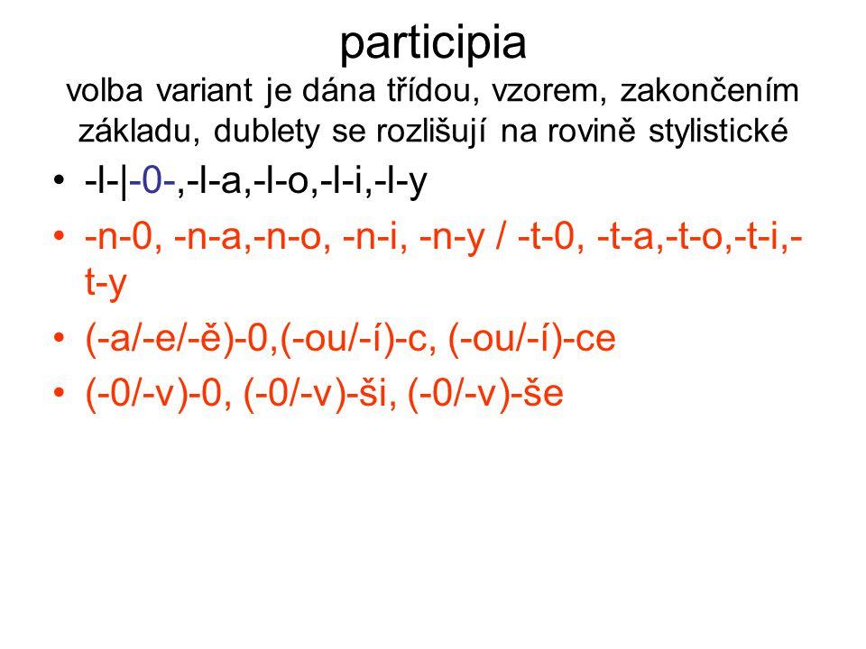 participia volba variant je dána třídou, vzorem, zakončením základu, dublety se rozlišují na rovině stylistické -l-|-0-,-l-a,-l-o,-l-i,-l-y -n-0, -n-a