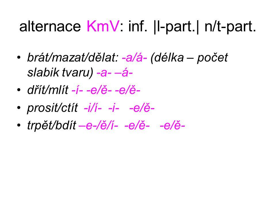 alternace KmV: inf. |l-part.| n/t-part. brát/mazat/dělat: -a/á- (délka – počet slabik tvaru) -a- –á- dřít/mlít -í- -e/ě- -e/ě- prosit/ctít -i/í- -i- -