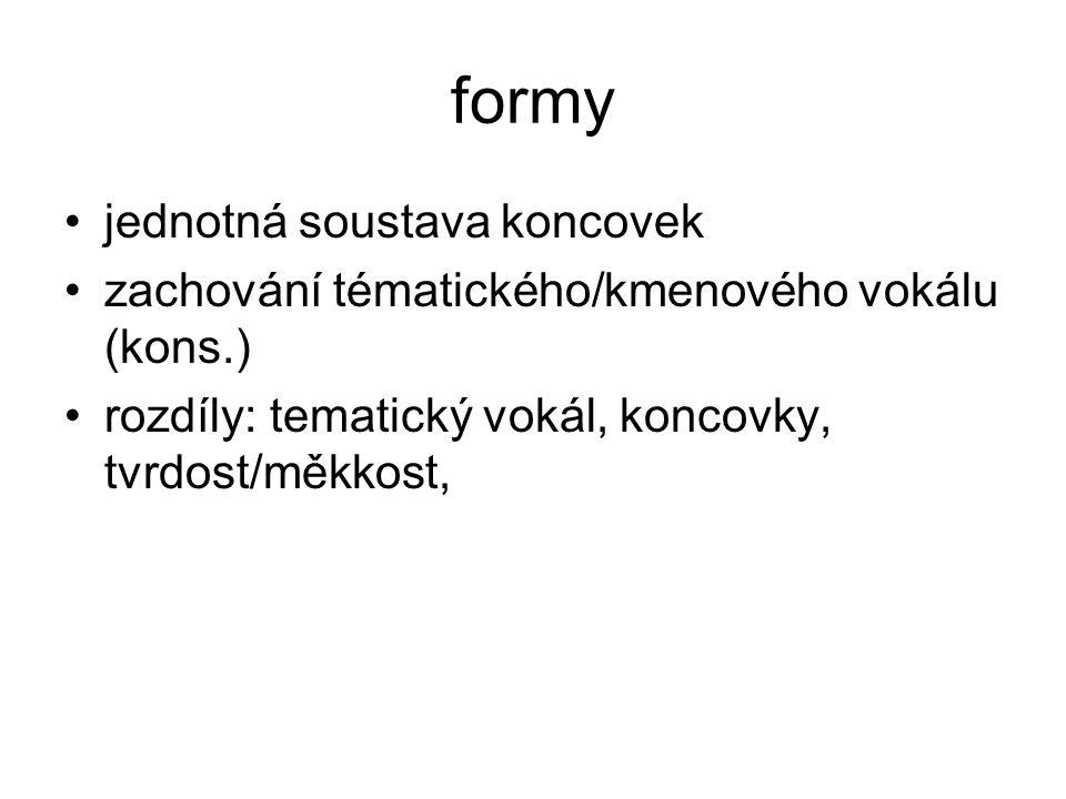 formy jednotná soustava koncovek zachování tématického/kmenového vokálu (kons.) rozdíly: tematický vokál, koncovky, tvrdost/měkkost,