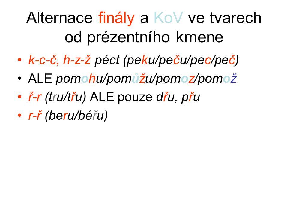 Alternace finály a KoV ve tvarech od prézentního kmene k-c-č, h-z-ž péct (peku/peču/pec/peč) ALE pomohu/pomůžu/pomoz/pomož ř-r (tru/třu) ALE pouze dřu