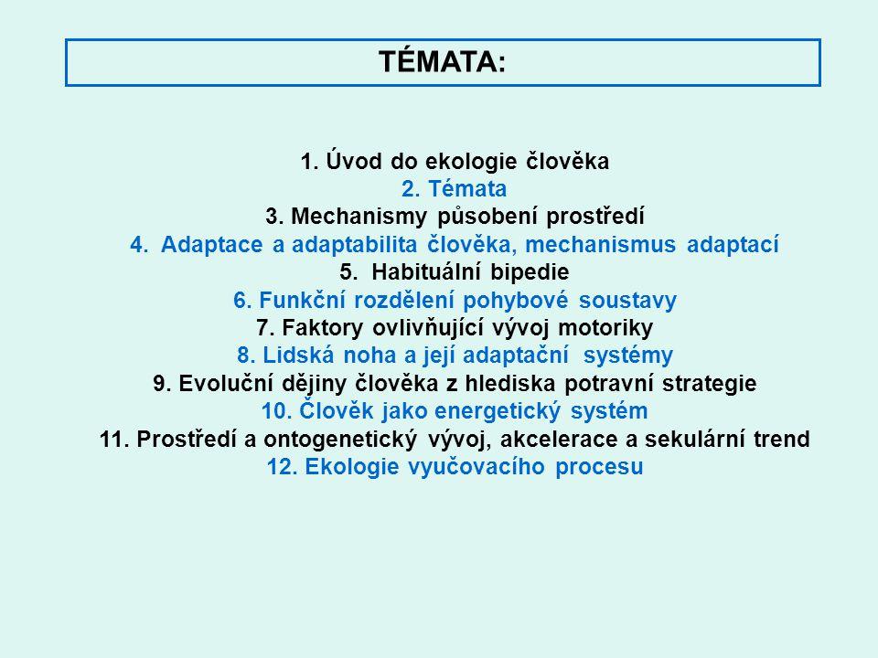 1. Úvod do ekologie člověka 2. Témata 3. Mechanismy působení prostředí 4. Adaptace a adaptabilita člověka, mechanismus adaptací 5. Habituální bipedie