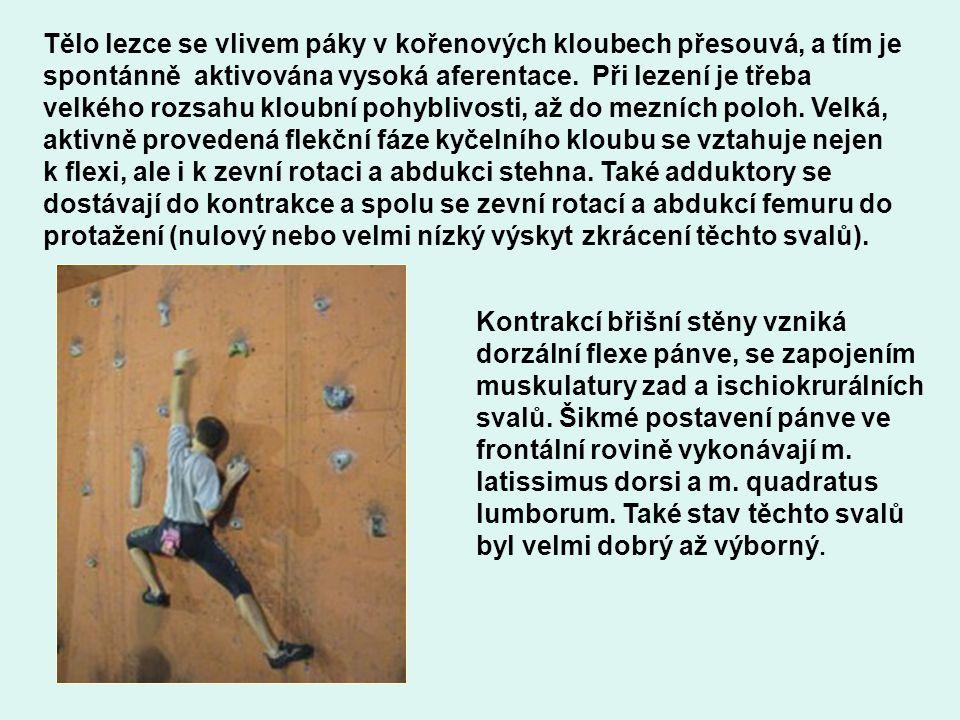 Tělo lezce se vlivem páky v kořenových kloubech přesouvá, a tím je spontánně aktivována vysoká aferentace. Při lezení je třeba velkého rozsahu kloubní