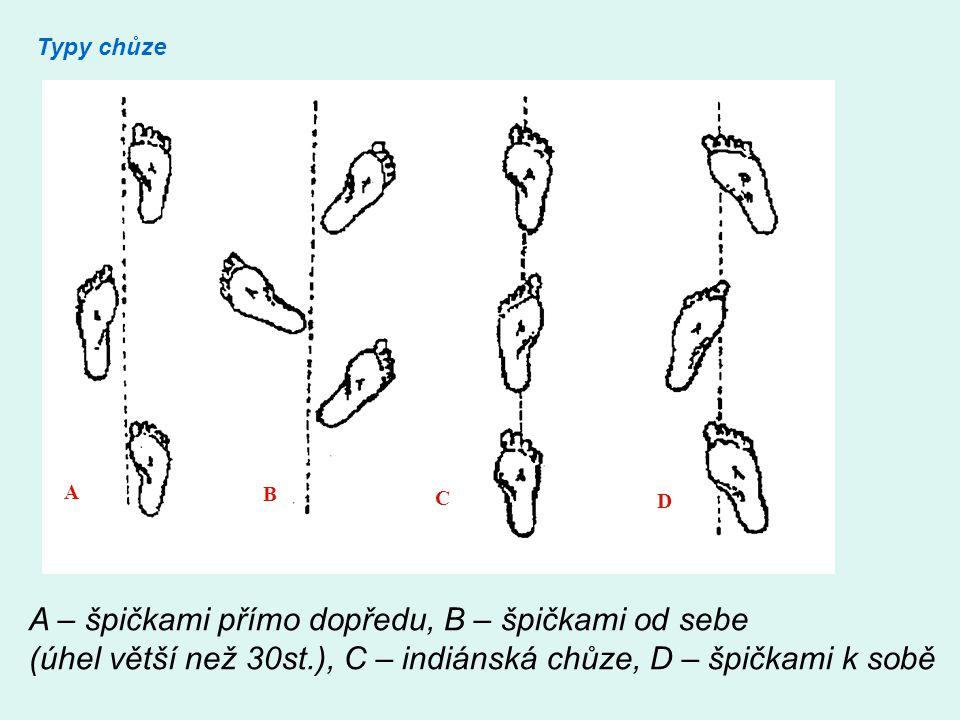 Typy chůze A B C D A – špičkami přímo dopředu, B – špičkami od sebe (úhel větší než 30st.), C – indiánská chůze, D – špičkami k sobě