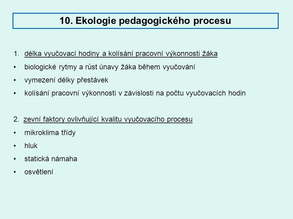 10. Ekologie pedagogického procesu 1.délka vyučovací hodiny a kolísání pracovní výkonnosti žáka biologické rytmy a růst únavy žáka během vyučování vym
