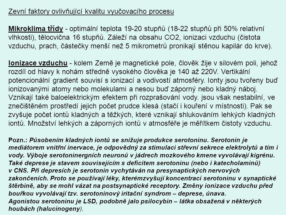 Zevní faktory ovlivňující kvalitu vyučovacího procesu Mikroklima třídy - optimální teplota 19-20 stupňů (18-22 stupňů při 50% relativní vlhkosti), těl