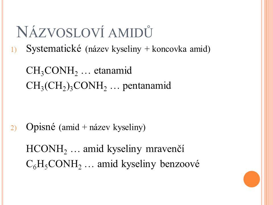 N ÁZVOSLOVÍ AMIDŮ 1) Systematické (název kyseliny + koncovka amid) CH 3 CONH 2 … etanamid CH 3 (CH 2 ) 3 CONH 2 … pentanamid 2) Opisné (amid + název k