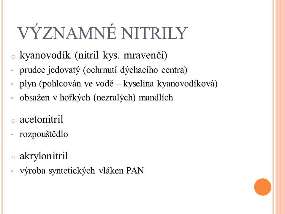 VÝZNAMNÉ NITRILY o kyanovodík (nitril kys. mravenčí) prudce jedovatý (ochrnutí dýchacího centra) plyn (pohlcován ve vodě – kyselina kyanovodíková) obs