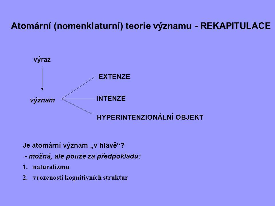 """Atomární (nomenklaturní) teorie významu - REKAPITULACE výraz význam EXTENZE INTENZE HYPERINTENZIONÁLNÍ OBJEKT Je atomární význam """"v hlavě""""? - možná, a"""