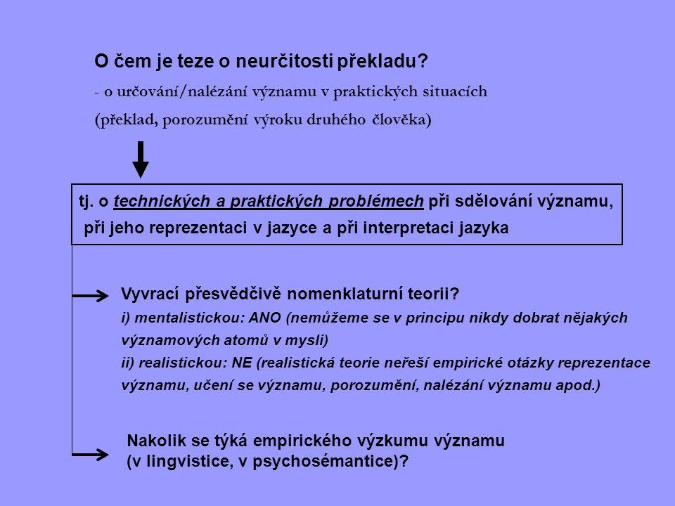 O čem je teze o neurčitosti překladu? - o určování/nalézání významu v praktických situacích (překlad, porozumění výroku druhého člověka) tj. o technic