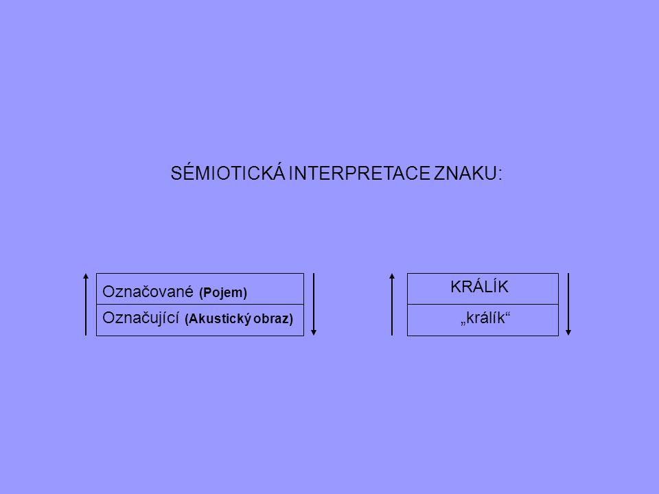 """STRUKTURALISTICKÁ INTERPRETACE ZNAKU: Označované (Pojem) Označující (Akustický obraz) """"králík králík Ale: nejde de facto o nomenklaturní/atomistickou teorii."""