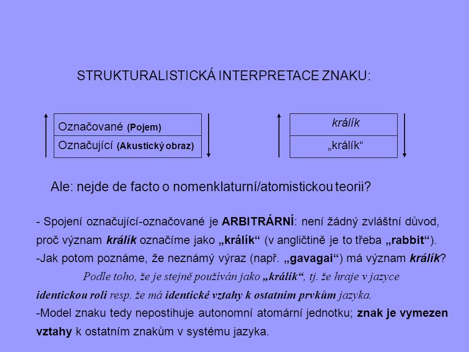 """STRUKTURALISTICKÁ INTERPRETACE ZNAKU: Označované (Pojem) Označující (Akustický obraz) """"králík"""" králík Ale: nejde de facto o nomenklaturní/atomistickou"""