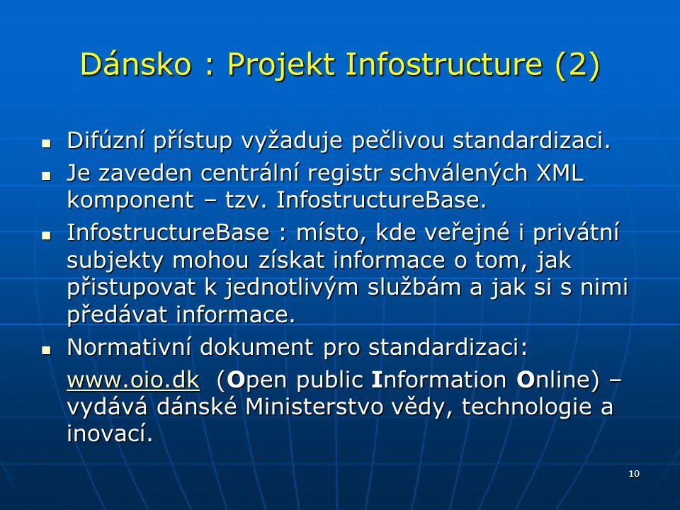 10 Dánsko : Projekt Infostructure (2) Difúzní přístup vyžaduje pečlivou standardizaci. Difúzní přístup vyžaduje pečlivou standardizaci. Je zaveden cen